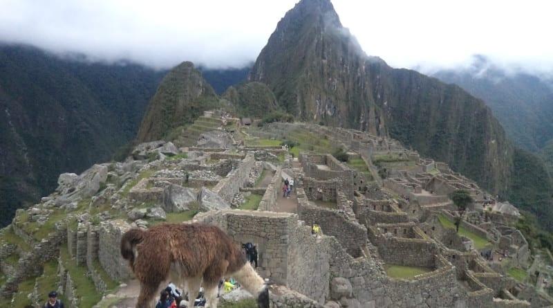Lhama, Machu Picchu e Huyana Picchu simbolos peruanos em Aguas Calientes