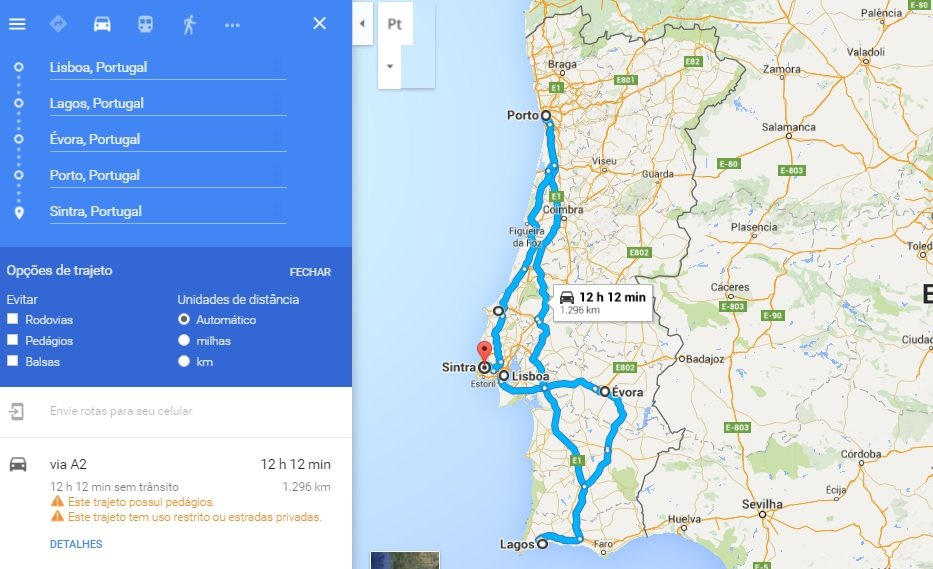 Roteiro Portugal - 7 dias - Google Maps