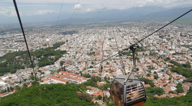 Teleferico San Bernardo, na cidade Salta, Norte Argentino