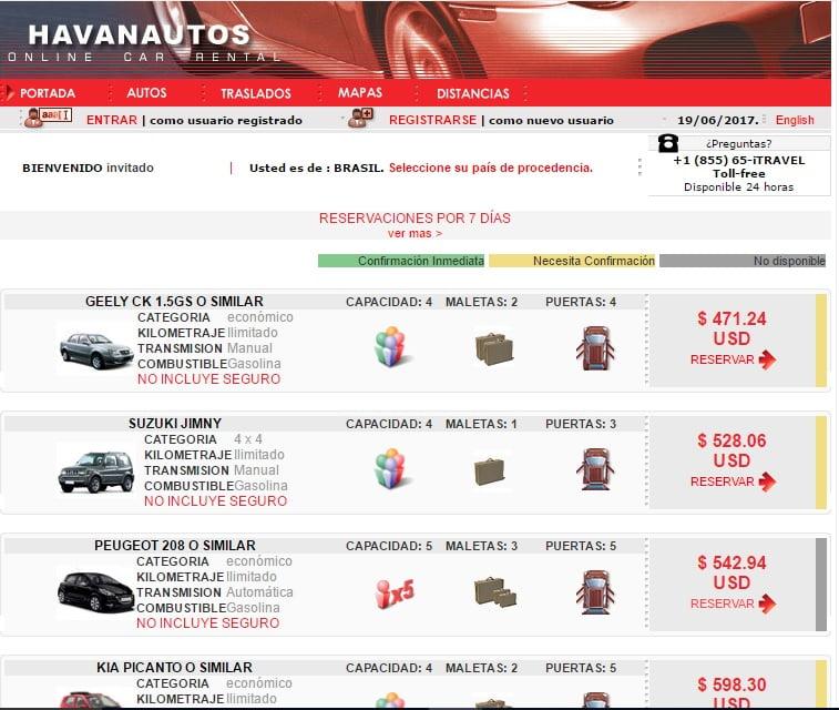 Site Havanautos - Alugar Carro em Cuba