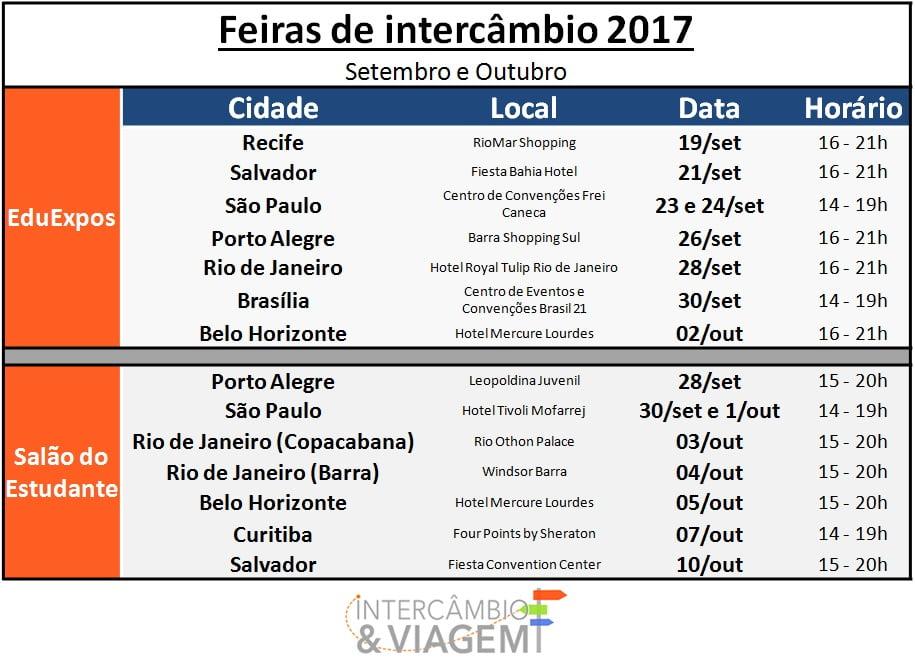 Datas das Feiras de Intercâmbio 2017 - Salão do Estudante e EduExpos